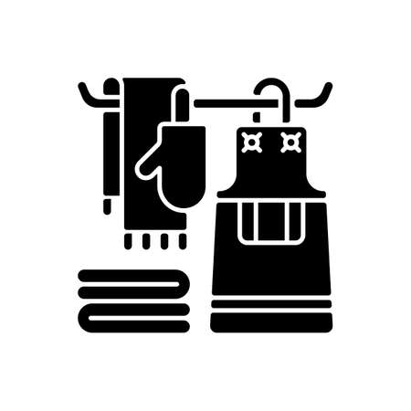 Kitchen linen black glyph icon. Apron. Dish cloths. Kitchen towels and napkins. Housekeeping. Pot holders and oven gloves. Silhouette symbol on white space. Vector isolated illustration 向量圖像