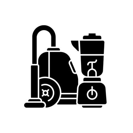 House appliances black glyph icon. Household functions. Hand blender. Vacuum cleaner. Cooking and cleaning. Home cook. Machinery. Silhouette symbol on white space. Vector isolated illustration