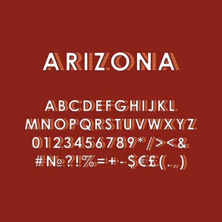Arizona vintage 3d vector alphabet set. Retro bold font, typeface. Pop art stylized lettering. Old school style letters, numbers, symbols pack. 90s, 80s creative typeset design template Çizim