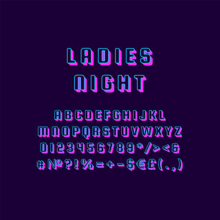 Ladies night vintage 3d vector alphabet set. Retro bold font, typeface. Pop art stylized lettering. Old school style letters, numbers, symbols pack. 90s, 80s creative typeset design template