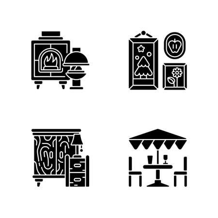Home decorations and furniture black glyph icons set on white space. Fireplaces. Photo frames. Wooden furniture. Patio umbrellas. Wood burning stoves. Silhouette symbols. Vector isolated illustration