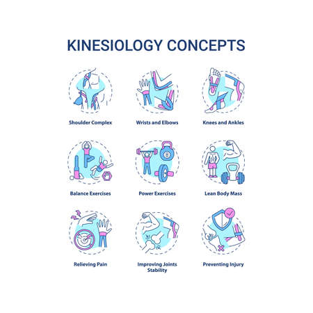 Kinesiology concept icons set. Aerobics exercise. Sports workout. Human body movement. Health care idea thin line RGB color illustrations. Vector isolated outline drawings. Editable stroke