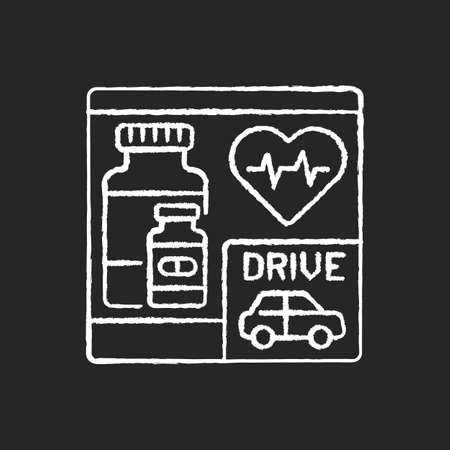 Drive through pharmacy chalk white icon on black background. Express drugstore. Medication store with transport lane. Car near medical shop. Isolated vector chalkboard illustration