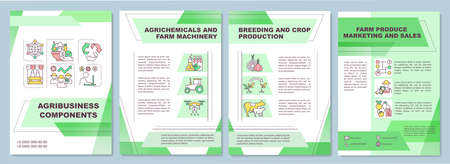 Agribusiness component brochure template. Farm machinery. Flyer, booklet, leaflet print, cover design with linear icons. Vector layouts for magazines, annual reports, advertising posters