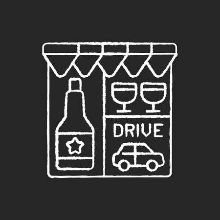 Drive through liquor store chalk white icon on black background. Alcohol and spirits. Alcoholic drinks in shop. Booze to buy. Winery storefront. Isolated vector chalkboard illustration Illustration