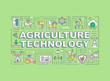 Agriculture technology word concepts banner. Smart farming. Infographics with linear icons on green background. Isolated typography. Vector outline RGB color illustration Vektorové ilustrace