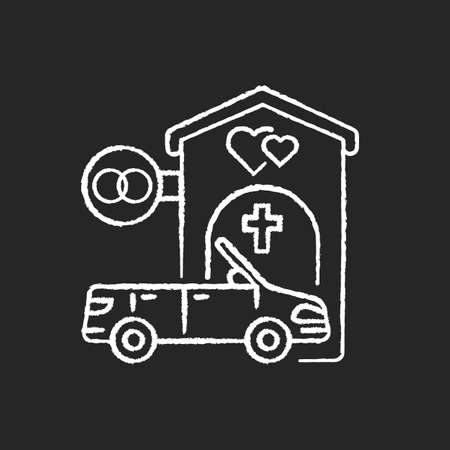 Drive through marriage chapel chalk white icon on black background. Small church for wedding. Car for newlyweds. Marry in Las Vegas. Romantic honeymoon. Isolated vector chalkboard illustration Illustration