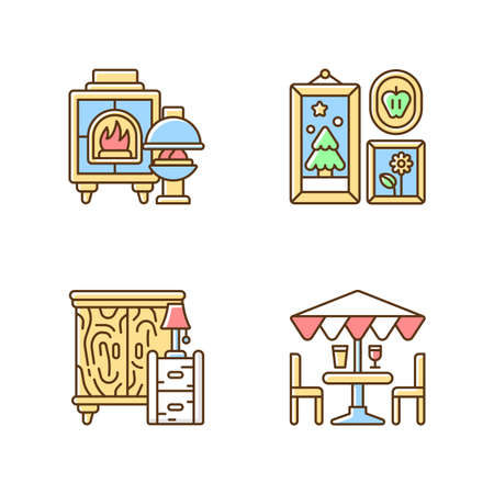 Home decorations and furniture RGB color icons set. Fireplaces. Photo frames. Wooden furniture. Patio umbrellas. Wood burning stoves. Wall decor. Interior design. Isolated vector illustrations