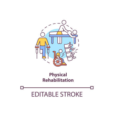 Physical rehabilitation concept icon. Physiology therapist. Trauma recovery. Clinical treatment. Kinesiology idea thin line illustration. Vector isolated outline RGB color drawing. Editable stroke