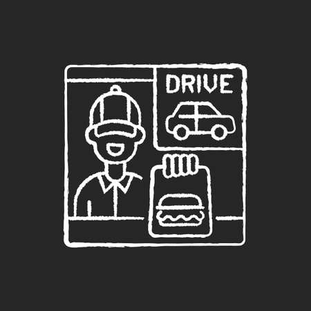 Drive through window chalk white icon on black background. Fast food order. Restaurant employee. Burger for customer. Express delivery service. Isolated vector chalkboard illustration Illustration