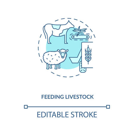 Feeding livestock concept icon. Agriculture machines types. Different systems of feeding and growing cattle idea thin line illustration. Vector isolated outline RGB color drawing. Editable stroke