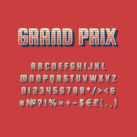 Grand prix vintage 3d vector alphabet set. Retro bold font, typeface. Pop art stylized lettering. Old school style letters, numbers, symbols pack. 90s, 80s creative typeset design template Illusztráció