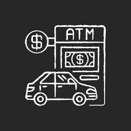 Drive through ATM chalk white icon on black background. Bank services. Transport lane to terminal. Automated machine. Financial checkout for drive. Isolated vector chalkboard illustration