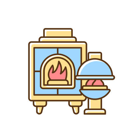 Fireplaces RGB color icon. Wood burning stoves. Heating home. Warm and cozy style. House furnishings. Fireboxes. Home decor and interior design. Providing warmth. Isolated vector illustration Ilustração
