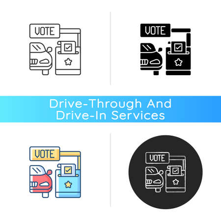 Drive through voting booth icon. Polling station. Express election service. Driver voter in car. Auto in transport lane. Linear black and RGB color styles. Isolated vector illustrations
