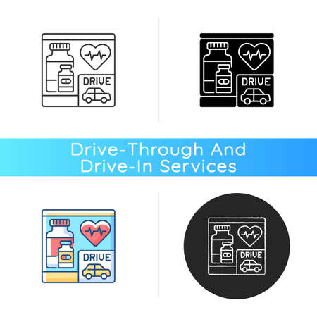 Drive through pharmacy icon. Express drugstore. Health care service. Medication store with transport lane. Car near medical shop. Linear black and RGB color styles. Isolated vector illustrations Illustration