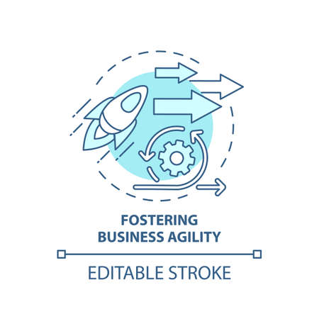 Fostering business agility concept icon. Business consulting task idea thin line illustration. Rapid responding to customer demands. Vector isolated outline RGB color drawing. Editable stroke 矢量图像