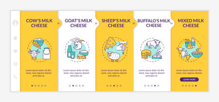 Cheese making onboarding vector template. Dairy industry. Farm food manufacture. Indsutrial production. Responsive mobile website with icons. Webpage walkthrough step screens. RGB color concept
