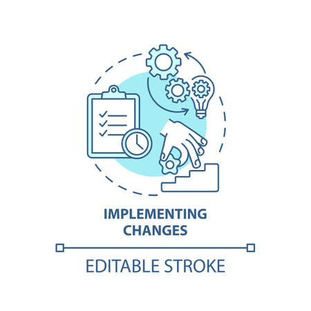 Implementing changes concept icon. Business consulting stage idea thin line illustration. Building plan. Providing effective training. Vector isolated outline RGB color drawing. Editable stroke Vecteurs