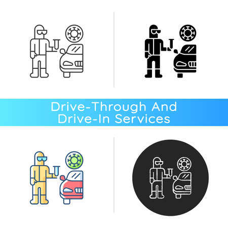 Drive through covid testing icon. Check for coronavirus. Pandemic precaution. Quarantine health checkup. Sanitize for virus. Linear black and RGB color styles. Isolated vector illustrations