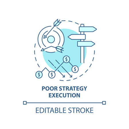 Poor strategy execution concept icon. Business challenges idea thin line illustration. Balancing quality and growth. Market competition. Vector isolated outline RGB color drawing. Editable stroke