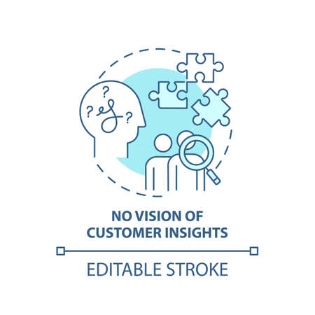 No customer insights vision concept icon. Business challenges idea thin line illustration. Unfocused marketing and product development. Vector isolated outline RGB color drawing. Editable stroke