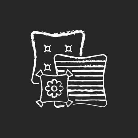 Decorative pillows chalk white icon on black background. Extras to the living room sofa. Aesthetic and functional purpose. Home decor and interior design. Isolated vector chalkboard illustration