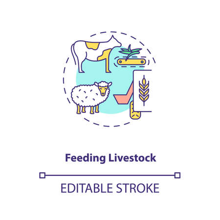 Feeding livestock concept icon. Agriculture machines types. Different systems of feeding ranch cattle idea thin line illustration. Vector isolated outline RGB color drawing. Editable stroke