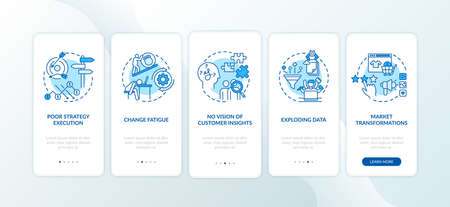 Business challenges onboarding mobile app page screen with concepts. No client-centric, poor strategy walkthrough 5 steps graphic instructions. UI vector template with RGB color illustrations