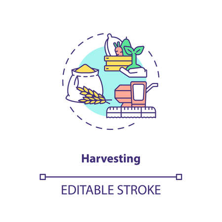 Harvesting concept icon. Agriculture machines types. Gathering fully grown crops on farm fields idea thin line illustration. Vector isolated outline RGB color drawing. Editable stroke