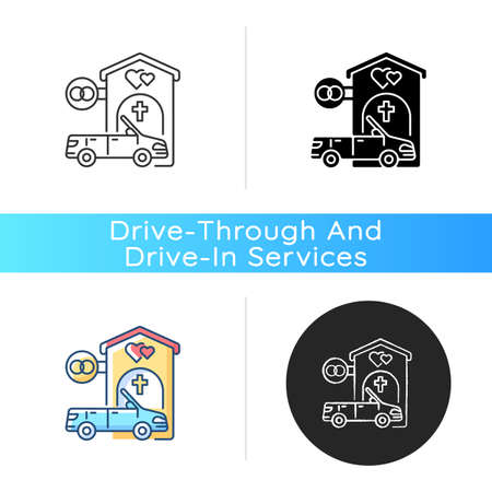 Drive through marriage chapel icon. Small church for wedding. Car for newlyweds. Marry in Las Vegas. Romantic honeymoon. Linear black and RGB color styles. Isolated vector illustrations Illustration