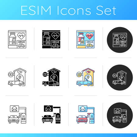 Car in drive thru lane icons set. Pharmacy, drugstore. Wedding chapel. Mailbox to send letter. Post office service. Linear, black and RGB color styles. Isolated vector illustrations Illustration