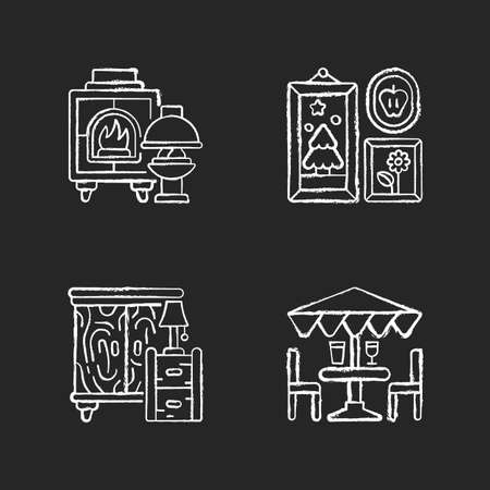 Home decorations and furniture chalk white icons set on black background. Fireplaces. Photo frames. Wooden furniture. Patio umbrellas. Wood burning stoves. Isolated vector chalkboard illustrations