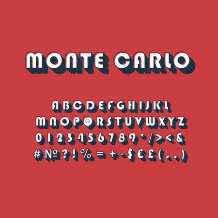 Monte Carlo vintage 3d vector alphabet set. Retro bold font, typeface. Pop art stylized lettering. Old school style letters, numbers, symbols pack. 90s, 80s creative typeset design template Illustration
