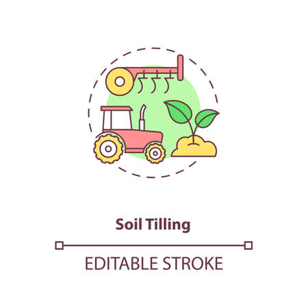 Soil tilling concept icon. Agriculture machines tasks. Preparing land for new crop growing season. Farm activity idea thin line illustration. Vector isolated outline RGB color drawing. Editable stroke