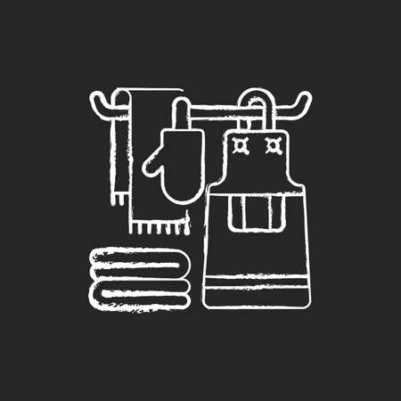 Kitchen linen chalk white icon on black background. Apron. Dish cloths. Kitchen towels and napkins. Housekeeping. Pot holders and oven gloves. Isolated vector chalkboard illustration 向量圖像