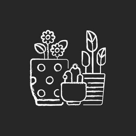Flower planters chalk white icon on black background. Houseplants and outdoor plants. Planting bowls, vases. Flowering containers. Gardening at home. Isolated vector chalkboard illustration