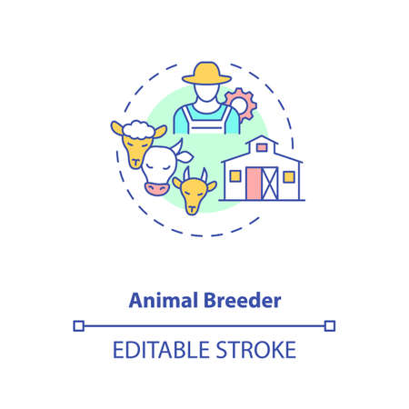 Animal breeder concept icon. Top agriculture careers. Responsible for producing different animals for business idea thin line illustration. Vector isolated outline RGB color drawing. Editable stroke