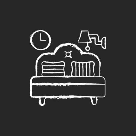 Bedroom furniture chalk white icon on black background. Bedding. Home furnishings. Bed and mattress. Interior design. Balanced artificial lighting. Isolated vector chalkboard illustration