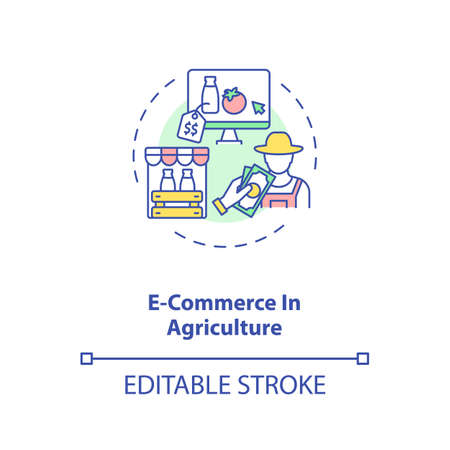 E commerce in agriculture concept icon. Information technology in agriculture. Order products online idea thin line illustration. Vector isolated outline RGB color drawing. Editable stroke