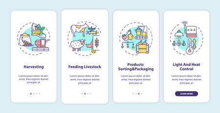 Agriculture machines types onboarding mobile app page screen with concepts. Feeding livestock walkthrough 4 steps graphic instructions. UI vector template with RGB color illustrations