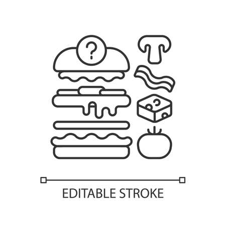 Food constructor linear icon. Setting meal preferences. Putting ingredients together. Thin line customizable illustration. Contour symbol. Vector isolated outline drawing. Editable stroke