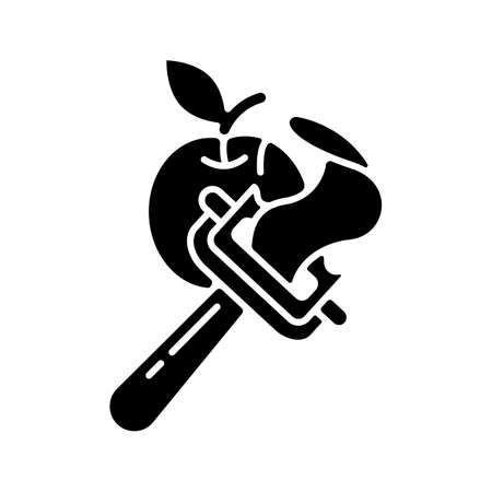 Vegetable peeler black glyph icon. Stainless instrument for serving food. Cooking utensil. Peel apple skin. Kitchen tool. Sharp knife. Silhouette symbol on white space. Vector isolated illustration