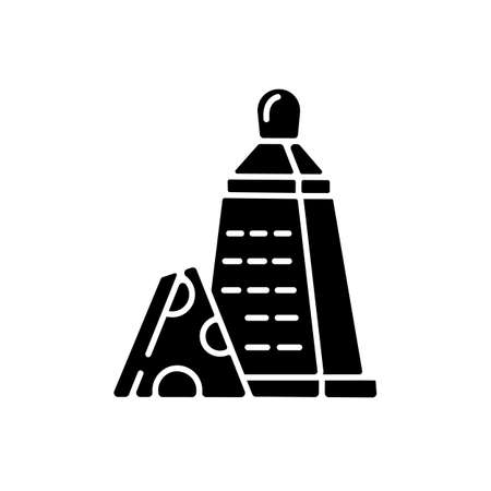 Grater of vegetables black glyph icon. Cheese stainless cutter. Kitchen utensil to slice cheddar. Cut cooking ingredient. Sharp cutlery. Silhouette symbol on white space. Vector isolated illustration