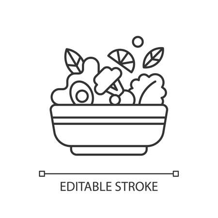 Salads linear icon. Lunch and dinner delivery. Leafy greens and salad dressing. Fresh vegetables. Thin line customizable illustration. Contour symbol. Vector isolated outline drawing. Editable stroke