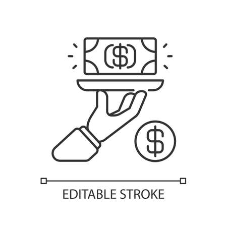 Service fee linear icon. Gratuity charge. Catered functions. High quality waiter, waitress. Thin line customizable illustration. Contour symbol. Vector isolated outline drawing. Editable stroke