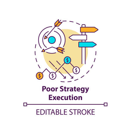 Poor strategy execution concept icon. Business challenges idea thin line illustration. Misaligned vision and strategy. Market competition. Vector isolated outline RGB color drawing. Editable stroke