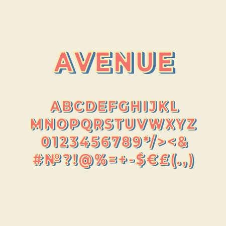 Avenue vintage 3d vector alphabet set. Retro bold font, typeface. Pop art stylized lettering. Old school style letters, numbers, symbols pack. 90s, 80s creative typeset design template  イラスト・ベクター素材