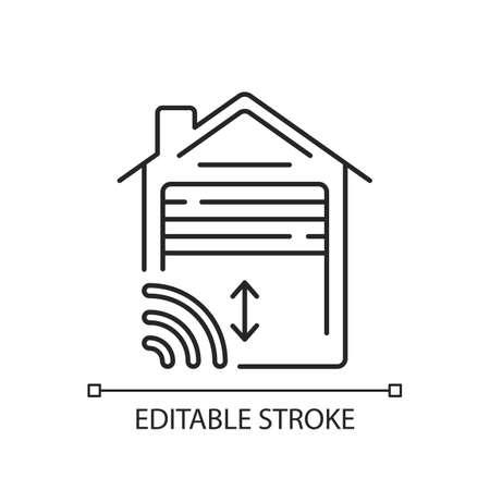 Garage door opener linear icon. Smart house future technologies. Car place helper. Thin line customizable illustration. Contour symbol. Vector isolated outline drawing. Editable stroke Ilustración de vector