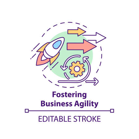 Fostering business agility concept icon. Business consulting task idea thin line illustration. Quick adaptation to market changes. Vector isolated outline RGB color drawing. Editable stroke